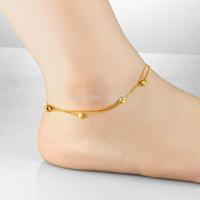 n727 Women Charming 18k Gold Plated Anklet or Bracelet Round ball Chain Heart Love