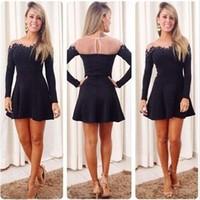 New Autumn 2014 Women Lace Gauze Dress Long Sleeve Lace Sheer Dress Casual Feniminos Vestidos Black Party Evening Dresses 2518