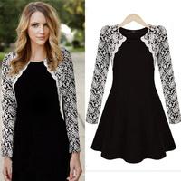 Women Lace Patchwork Long Sleeve Autumn Winter O-neck Mini Dress Size S M L XL FreeShipping