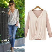 Women's Stitching Knitted Chiffon BlouseLong Sleeve Shirt Blouse Loose Casual