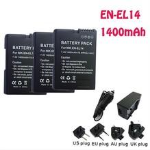 3PCs EN-EL14 Li-ion EN EL14 Battery +Batter Chargery +car charger for Nikon COOLPIX P7000 D3100 D5100 D5200 P7700 camera parts