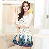 Spring Summer Floral Print Dress Slim 3/4 Sleeve Princess Mini Dress S- XL Free&DropShipping