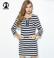 Fancyinn Brand 2014 New Arrive Retro Celeb Style Scoop Neck Striped Beach Mini Dress Party Dress