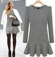 Autumn dress, Bottom dress Splicing Long sleeved dress, woman dress 8342