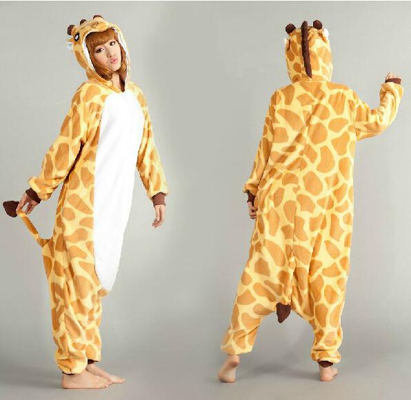 Unisex Adult animal Giraffe Pajamas onesie Women Men Halloween Xmas Pajamas Cosplay Costume Pyjamas Sleepwear Jumpsuit One piece(China (Mainland))