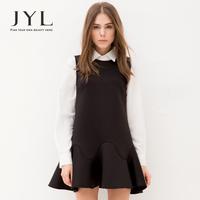 2014 Autumn/Winter JYL High Street Fashion dress black,sleeveless straight dresses women with bonded flounce hem woman dresses