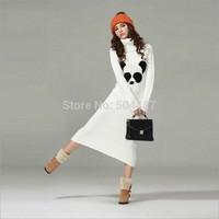 Bohemian Style Panda Print Turtleneck Slim Warm Sweater Maxi Dress Free Shipping 2014 New Autumn White S,M,L 21212