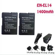 EN-EL14 Li-ion EN EL14 2pcs Batteries +EN-EL14 Charger +car charger for Nikon COOLPIX P7000 D3100 D5100 D5200 P7700 camera parts