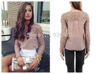 New Design Women Fashion Autumn Blouse Women Hollow Out Lace Blouses Long Sleeve Shirts Tops Women Clothing Casual Shirts