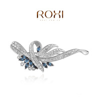 Wholesale ROXI Fashion Jewelry Accessories Gold Plated Austrian Crystal Blue CZ Diamond Brooch Love Gift for Women