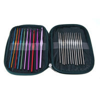 Knitted Suit Weaving Tools Knitting Needle Metallic Crochet Needle 22 pcs + Leather Case Multi-color/Silver