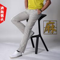 2014 brand men's boutique in the waist straight men's cotton linen pants men's casual pants 5 color 10 size plus size 29-40