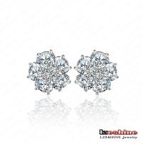 Small Flower Stud Earrings For Women Swiss Cubic Zirconia Diamond Earrings Fashion Jewelry Earrings Lots Wholesale CER0015-B