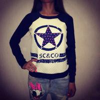 H1-v11 New 2014 women fashion circle star sc co print long sleeve pullover hoody sweatshirt s m l Free shipping