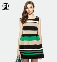 Fancyinn New 2014 Spring Summer Ladies Fashion Stripe Print Sexy Dress Charming Women's Dress Plus Size Top Grade Casual Dress