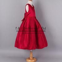 Chrismas 2014 Red Paty Girl Dress Top Grade Wedding Girls Dresses Birthday Gift Children Clothes Free Shipping GD40918-8