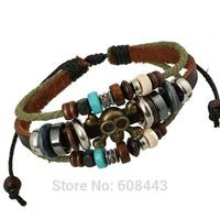 BA164 Wholesale Handmade Punk Skull Genuine Leather Adjustable Bracelet Wristband Jewelry Bijouterie Unisex Girls Woman 2014