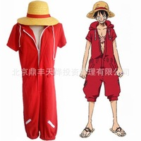 Anime One Piece Cosplay Episode of Luffy Monkey D.Luffy Cosplay Red Onesies Halloween Costume