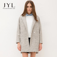 2014 Autumn/Winter JYL women pea coat,high street fashion matt wool blends women winter coat,large pocket women's winter coats