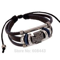 BA166 Wholesale Handmade Cross Religous Genuine Leather Adjustable Bracelet Wristband Jewelry Bijouterie Unisex Girls Woman