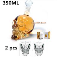 Crystal Head Whisky Vodka Shot Skull Sets(1 Piece 350ml Skull Bottle& 2 Pieces Skull Shot Glass Mug ),Free Shipping