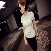 Newest 2014 Lace Patchwork See Through T-shirts Women Girls Short Sleeve O-Neck T-shirts Black White Casual Tees Tops Free Size