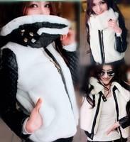 New 2014 Autumn Winter Fashion Short Slim Women Leather Patchwork Faux Rex Rabbit Fur Coat Jacket Womens Fur Coats Jackets B1506