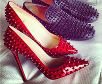 Fashion Sexy Pointed toe red spike rivets pumps,hot selling white pigalle spike shoes party dresses high heels 11 color
