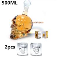 3 Pieces/Lot Crystal Head WhiskyVodka Shot Skull Sets(500ml for Skull Bottle&75ml for Skull Shot Glass Mug )