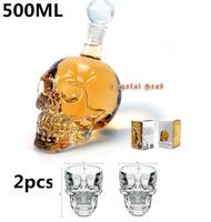 3 Pieces/Set Crystal Head Whisky Vodka Shot Skull Sets(1 Piece 500ml Skull Bottle& 2 Pieces Skull Shot Glass Mug ) in Retail Box