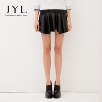 2014 Autumn/Winter JYL High Street Fashion PU leather skirt,Stylish simple design bonded line asymmetrical flounce skirt women