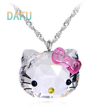 100% 925 Sterling Silver Hello Kitty Natural Crystal Pendant Necklace Fine Jewelry Necklaces & Pendants FREE SHIPPING(China (Mainland))
