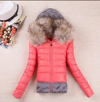 Explosion models Women's winter thickening with a hood short design wadded jacket large fur collar down jacket cotton-padded