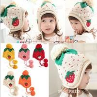 Children's winter strawberry wool hat thickening  Baby winter warm hat Children Autumn Winter Hat