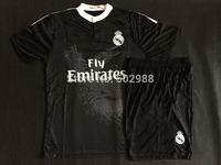 Best quality 2014/15 Real Madrid White Black Pink VARANE RONALDO KROOS BENZEMA JAMES BALE MODRIC soccer Jersey & shorts kit 2015