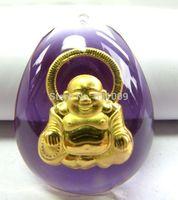 Certified Hi-Q 24K Yellow Gold Pendant/ Fine Crystal Bless BUDDHA Pendant - Free shipping