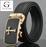 Drop Shipping!  Black genuine Leather Belts Alloy Automatic buckle For Men's  formal Suit Pants Leisure Belts 110-125cm