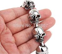Large 100% Stainless Steel Men's Punk Skull Biker Chain Link Bracelet 8.46'' for Birthday Gift / XMAS Gifts