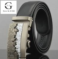 1pcs/lot Hot Sale Business Belts Men's formal belts designer Charm Automatic Buckle Classic Black Fashion Genuine Leather Belts