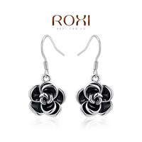 Wholesale ROXI Fashion Accessories Jewelry Austria Crystal Black Rose Drop Earrings Love Gift for Girl