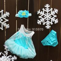 shabby chic flower headband chiffon baby girl frozen dress set