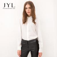 2014 Autumn/Winter JYL Urban Hippie long sleeve shirt,simple design turndown collar fashion women shirt 2014,white blouse