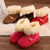 2014 Winter new suede children snow boots for boys and girls candy child thicker non-slip padded cotton baby boots