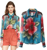 Autumn 2014 new arrival vintage flower printed fashion women blouse,loose plus size long sleeve chiffon shirt blusas femininas