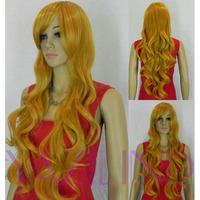 Long Blonde Yellow Wavy Curly Ramp Bangs Synthetic Hair Cosplay Full Wig  Peluca Perucke Perruque