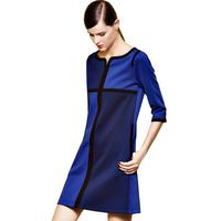 Free Shipping new fashion color block contrast three quarter sleeve elegant women loose dress