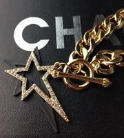 2014 new European style fashion personality wild double crystal pentagram necklace gold chain jewelry