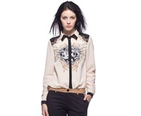 2014 new fashion women fashion positioning flower print long sleeve blouse Lady casual Contrast color brand design shirt #J373