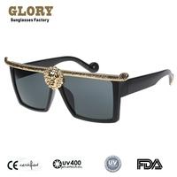Square Shape Metal Lion Diamond Frame Sunglasses Men 2014 New Steampunk Vintage Retro Sun Glasses High Fashion Quality Oculos