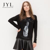2014 Autumn/Winter JYL Hippie 3D Printed long sleeve t shirt,graphic letter Pop Art black women tshirt,letter print top women